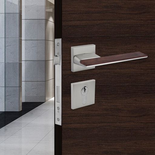 [TUR.MAN.1800GM] LISBOA TÜRGRIFFE DOOR LOCK GRAY/WOOD TUR.MAN.1800GM