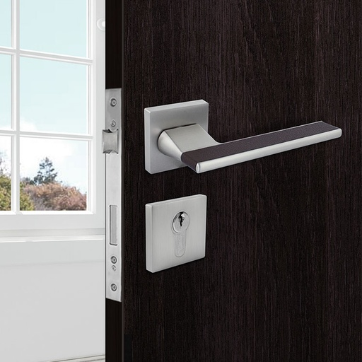 [TUR.MAN.7426GC] VENECIA TÜRGRIFFE DOOR LOCK GRAY/BROWN LEATHER TUR.MAN.7426GC