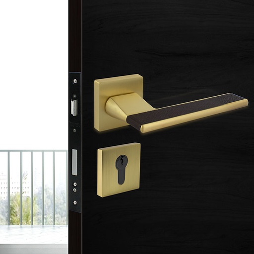 [TUR.MAN.7426LMC] VENECIA TÜRGRIFFE DOOR LOCK MATTE BRASS/BROWN LEATHER TUR.MAN.7426LMC